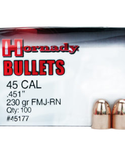 "Hornady .45 Caliber .451"" Diameter 230 Grain Flat Base Round Nose Full Metal Jacket Bullet 100 Count"